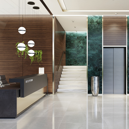 Motel「Modern Offices lobby interior area with elevators and stairs and with long reception desk」:スマホ壁紙(18)