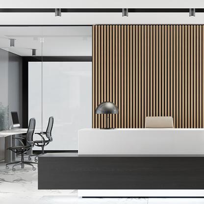 Motel「Modern Office lobby interior with long wooden planks background and reception desk」:スマホ壁紙(3)