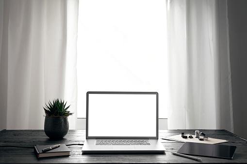 Digital Tablet「Modern office with laptop and digital tablet on desk」:スマホ壁紙(7)