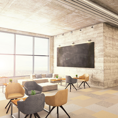 Projection Equipment「Modern office interior lobby with blackboard」:スマホ壁紙(14)