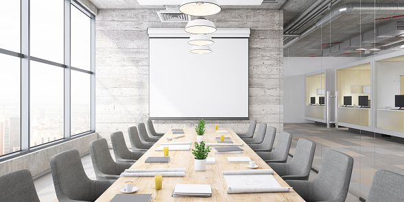 Projection Equipment「Modern office conference room interior」:スマホ壁紙(7)
