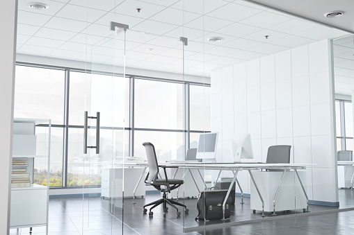 Corporate Business「Modern Office Room With Glass Walls」:スマホ壁紙(2)