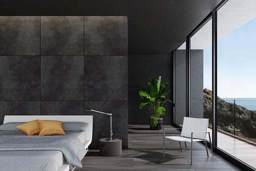灰色「海沿いにヴィラでモダンな豪華な寝室」:スマホ壁紙(11)