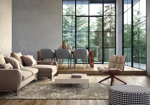 Pastel「Modern luxury living room interior - 3d render」:スマホ壁紙(10)