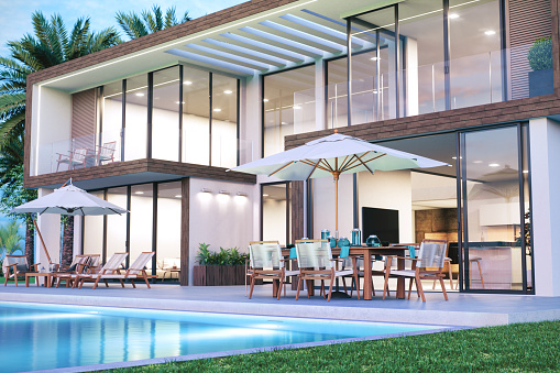 Resort Swimming Pool「Modern Luxury House With Swimming Pool」:スマホ壁紙(8)