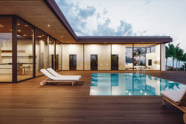 Modern Luxury House With Private Swimming Pool At Dusk:スマホ壁紙(壁紙.com)