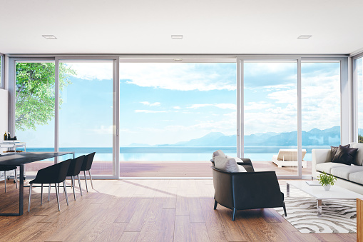Waterfront「Modern Luxury Living Room With Pool And Ocean View」:スマホ壁紙(6)