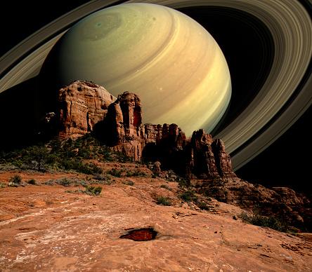 Sedona「Conceptual view of Saturn Rising behind Cathedral Rock, Sedona, Arizona, USA」:スマホ壁紙(16)