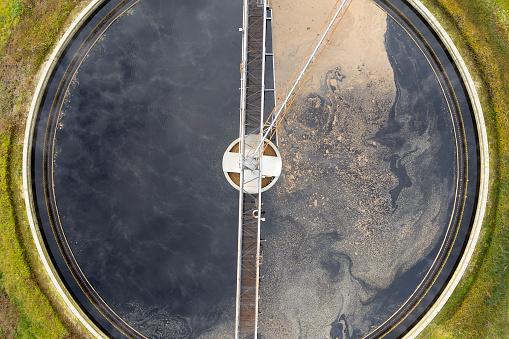Environmental Cleanup「Clarifier at wastewater treatment plant, aerial view」:スマホ壁紙(10)
