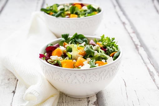 Nut - Food「Bowls of autumnal salad with feta and Hokkaido pumpkin」:スマホ壁紙(3)