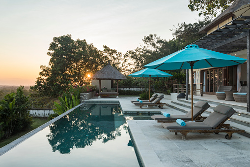 Bali「Sunrise in a luxurious villa with swimming pool in Bali」:スマホ壁紙(4)