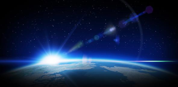 Astronomy「Sunrise in space」:スマホ壁紙(15)