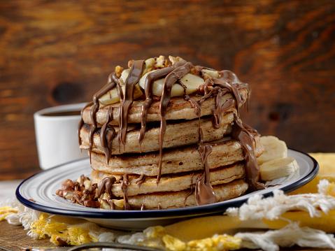 Nut - Food「Banana Pancakes with Chocolate Sauce」:スマホ壁紙(7)