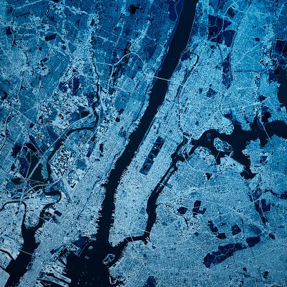 Mid-Atlantic - USA「Manhattan New York 3D Render Map Blue Top View Apr 2019」:スマホ壁紙(9)
