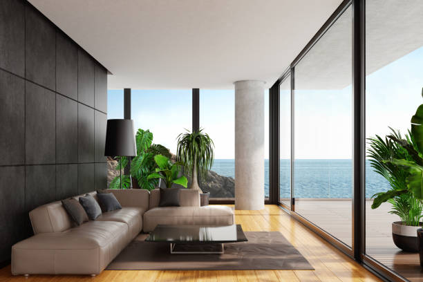 Modern minimalist living room with big panoramic ocean view:スマホ壁紙(壁紙.com)