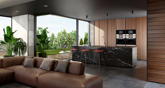 2019「Modern minimalist kitchen with open garden」:スマホ壁紙(16)