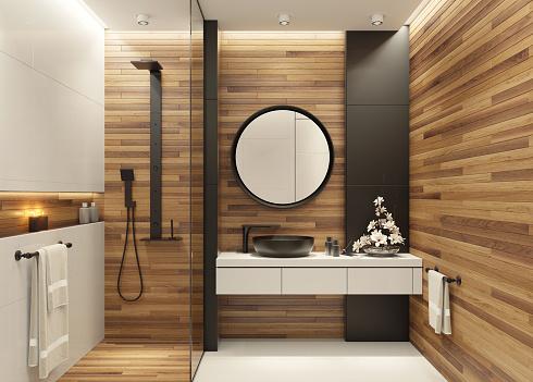 Plank - Timber「Modern minimalist bathroom」:スマホ壁紙(19)
