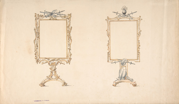 Furniture「Designs For Two Mirror Frames Supported On Footed Pedestals With Armorial」:写真・画像(9)[壁紙.com]