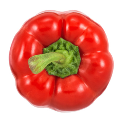 Red Bell Pepper「Top view of red bell pepper on white background」:スマホ壁紙(14)