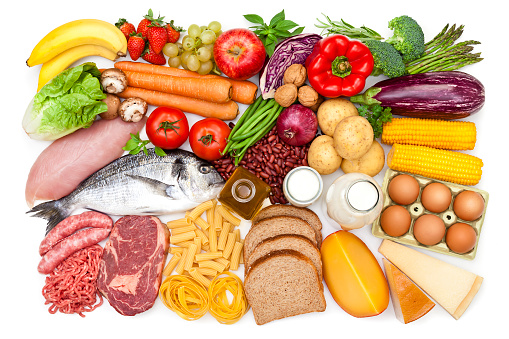 Dietary Fiber「Top view of a table filled with different types of food」:スマホ壁紙(9)
