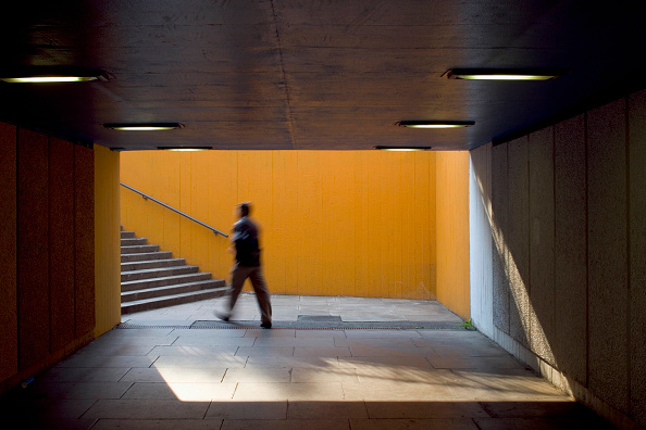 Blurred Motion「View of underpass and stairwell on London's south bank including blurred figure, UK」:写真・画像(1)[壁紙.com]