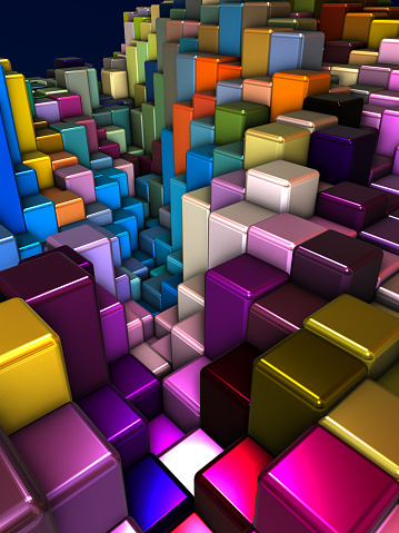 Internet of Things「Abstract 3d background with different cubes」:スマホ壁紙(0)