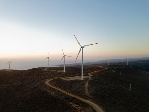 Agricultural Building「wind turbines at sunset」:スマホ壁紙(8)