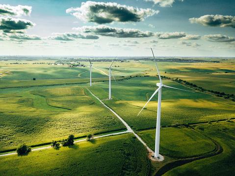Wind「wind turbine farm aerial view」:スマホ壁紙(12)