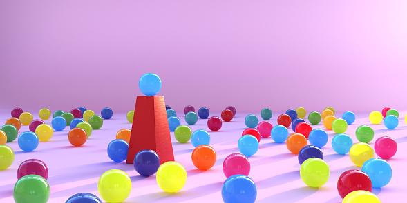 Sphere「Multi Coloured Spheres Surrounding a Single Sphere On A Plinth」:スマホ壁紙(12)