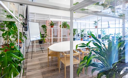 Environmental Issues「Business co-working meeting room, green plants」:スマホ壁紙(18)