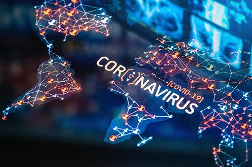 Viral Infection「Coronavirus Outbreak on a World Map」:スマホ壁紙(11)