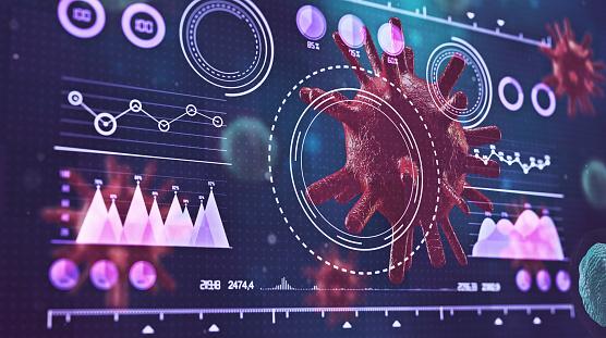 Big Data「Coronavirus (COVID-19) medical. The virus model is realistic. HUD - Graphical User Interface.」:スマホ壁紙(16)