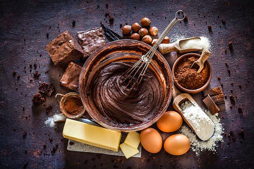 Dessert「Chocolate brownie ingredients on kitchen table」:スマホ壁紙(12)