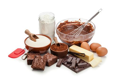 Recipe「Chocolate brownie ingredients on white background」:スマホ壁紙(5)