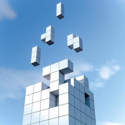Digital Composite「Various elements forming a cube」:スマホ壁紙(19)
