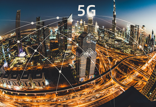 Internet of Things「City Skyline and 5G Network Concept」:スマホ壁紙(14)