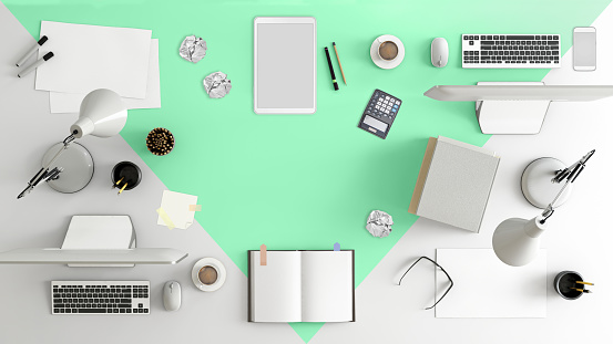 Mobile Phone「Knolling top view of a team office table」:スマホ壁紙(12)