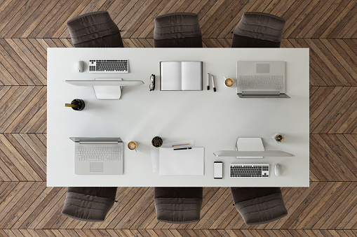 Laptop「Knolling top view of a team office table」:スマホ壁紙(19)
