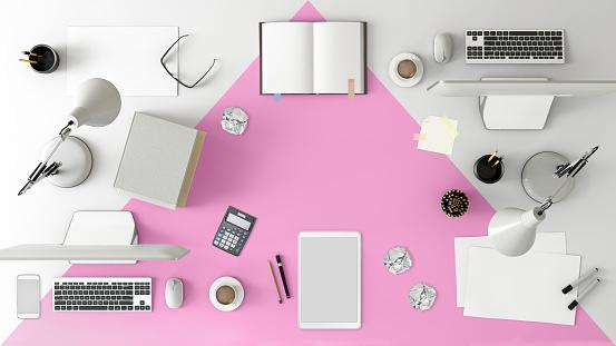 ピンク色「Knolling チームのオフィスのテーブルの上から見る」:スマホ壁紙(13)