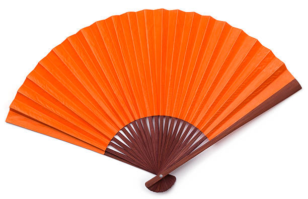 Opened Orange Asian Fan with Brown Stained Wood Isolated:スマホ壁紙(壁紙.com)