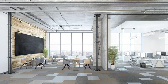 Computer Graphic「Modern open plan office interior」:スマホ壁紙(9)
