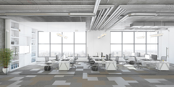 Business Finance and Industry「Modern open plan office interior」:スマホ壁紙(17)