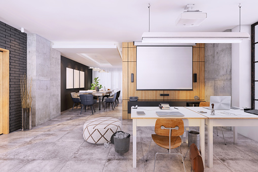 Whiteboard - Visual Aid「Modern open plan office interior with blank projection screen for copy space」:スマホ壁紙(4)
