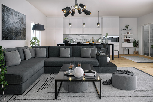Black Color「Modern Open Space, Kitchen and Living Room」:スマホ壁紙(1)