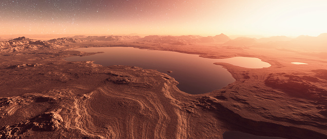 Exploration「Martian landscape with lakes, water」:スマホ壁紙(5)