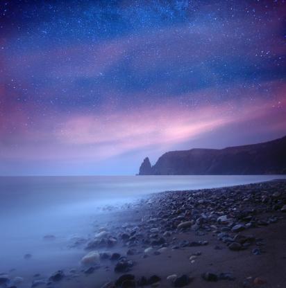 Star - Space「Sea at night under milky way stars」:スマホ壁紙(16)