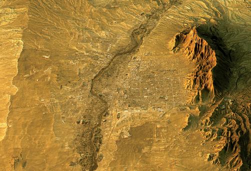 Sandia Mountains「Albuquerque 3D Landscape View South-North Natural Color」:スマホ壁紙(1)