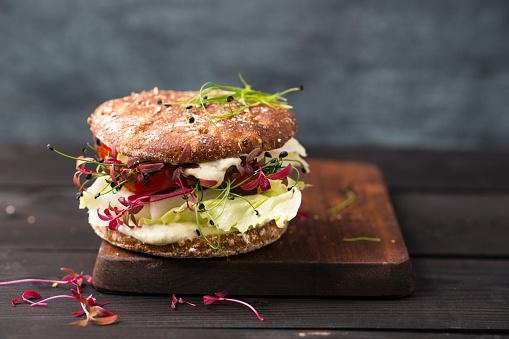 Vegetarian Food「Veggie Burger, vegan, with salad, radish, tomato, rock chive」:スマホ壁紙(8)