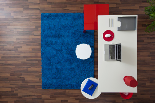 Part of a Series「A modern home office, no people, overhead view」:スマホ壁紙(3)