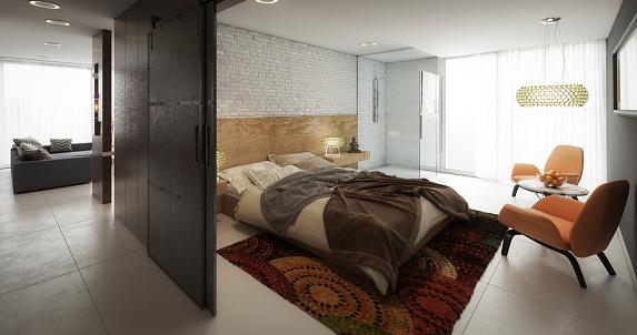 Bedroom「Modern Home Interior (Loft Apartment)」:スマホ壁紙(19)